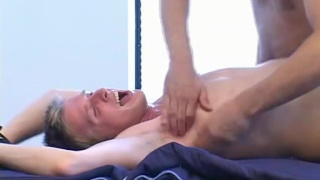 blond billy strapped down on tickling table