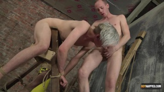 blond guy gets tied to a ladder and fucked