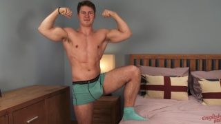 straight rugby hunk jerks his cock