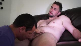 bearded muscle hottie gets edging blowjob