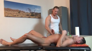 blond masseur rides his client's dick