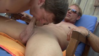 boy drops to his knees to worship daddy's cock