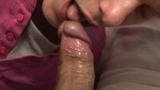 horny guy works on XL cock in hungry blowjob