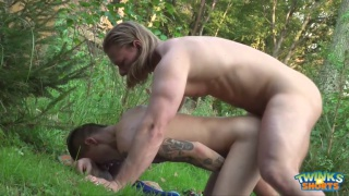 blond masseur fucks his client in the woods