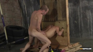Michael Wyatt gets fucked in wooden stocks