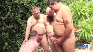 three bears cum on a fourth outside