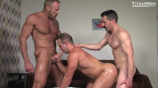 Dallas Steele & David Anthony spit roast fuck Luke Adams