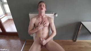 lukas pryde strokes his uncut cock