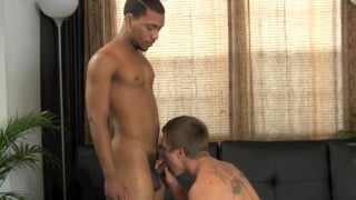 white guy sits on his first bare dick