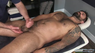 beefy hairy hunk gets his first erotic massage from guy
