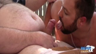 Bud Stiffy blows two big-bellied bear men