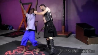 leather daddy interrogates his bound slave