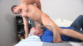 Wolfie Blue throat fucks a silver-haired daddy