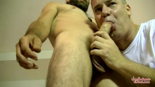 Bisexual Hairy Daddy Squirell gets a blowjob