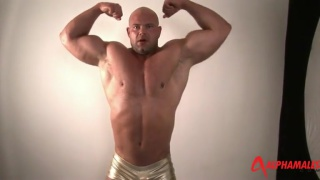 muscle hunk jack union flexes and strokes