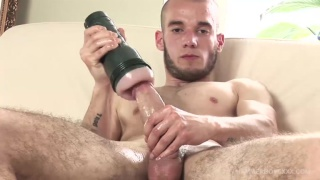 skinny and smooth guy plays with fleshjack