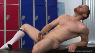 ginger stud Leander jacks off in locker room