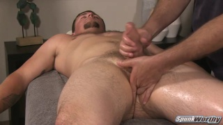 straight guy takes a dildo during erotic massage