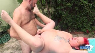 big-bellied bottom gets fucked outdoors