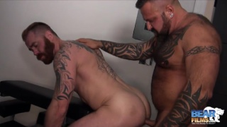 muscle bear Marc Angelo fucks Zac Acland