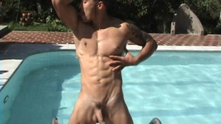 Sexy Latino Hunk pose naked outdoors