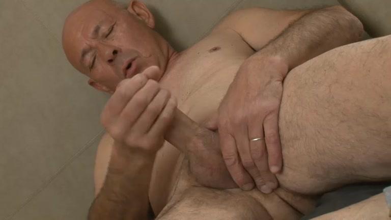 suited grandpa jacks his dick