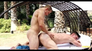 inked blond guy gets screwed good