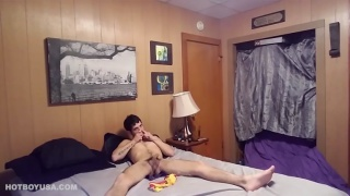guy snorting poppers while he's jerking off