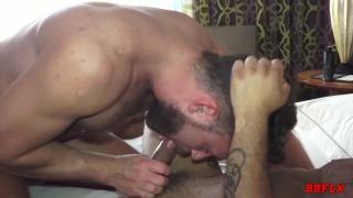 Leo Forte rides Logan Moore's bare cock