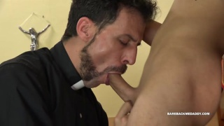 bearded priest sucks a young lad's dick
