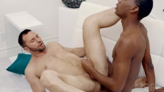 guy puts his feet on top's shoulders while thrusting on his cock