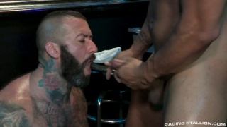 bearded hairy hunk feeds on his buddy's cum load