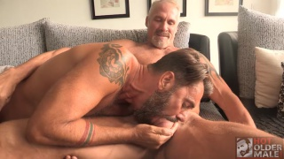 silver daddy gets his big dick sucked before getting fucked