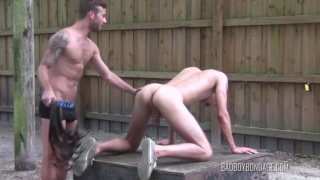 muscle stud whips a skinny guy's ass