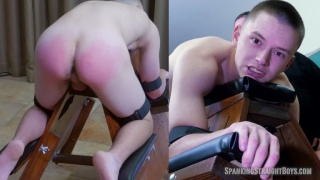 18-year-old straight boy lies across a spanking bench