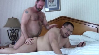 hairy daddy goes to town banging his buddy doggy style
