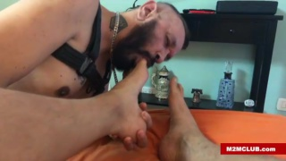 bearded latin man sucks his lover's toes then gets fucked