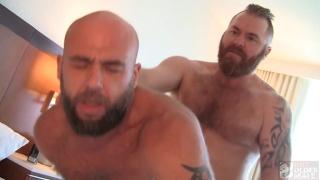 bald man & sexy ginger man flip-fucking