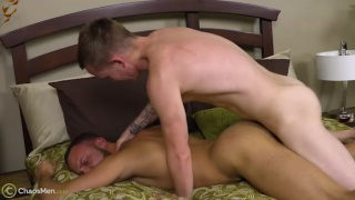 straight top boy gets his cock worshipped first