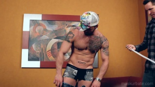 Muscle Hunk gets a full body measurement