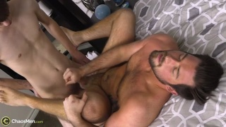 twink plows bearded hunk with his 8-inch cock