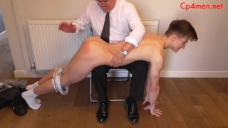 Jock Goes Over Man's Knee & Gets his Perky Butt Spanked