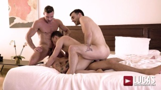 Hung Bottom Takes Three Cocks Up His Ass in Fourway