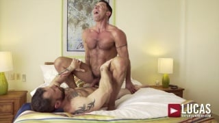 Muscled Man Rides Hairy Hunk's Cock While Being Watched