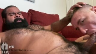 Blond Muscle Boy Blows a Big Hairy Brute