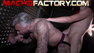 Silver Daddy Sucks Glory Hole Dick While Getting Fucked