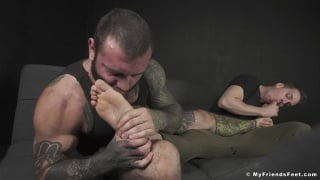 Fresh Out of Sweaty Sneakers, Inked Man Gets Feet Worshipped