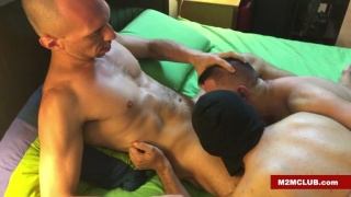 Two Hungry Cocksuckers Feasting on Bald Man's Dick