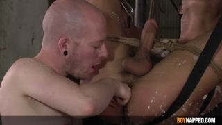 Chav Opens Bound Twink's Asshole with His Fingers