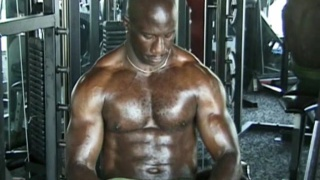 Black Bodybuilder works out and get horny